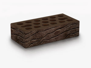 Кирпич Керма премиум рельефный с песком шоколад